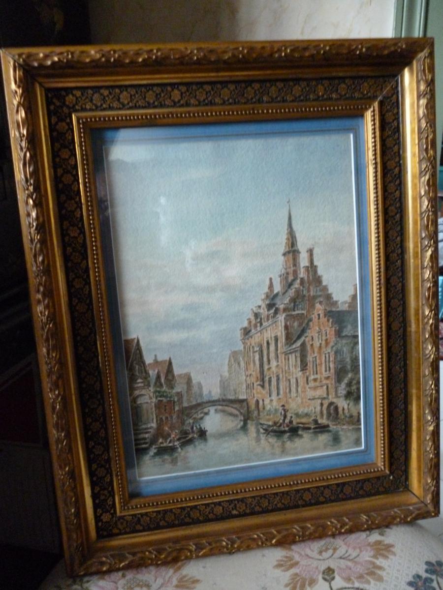 Aquarelle De Bruges époque XIX E