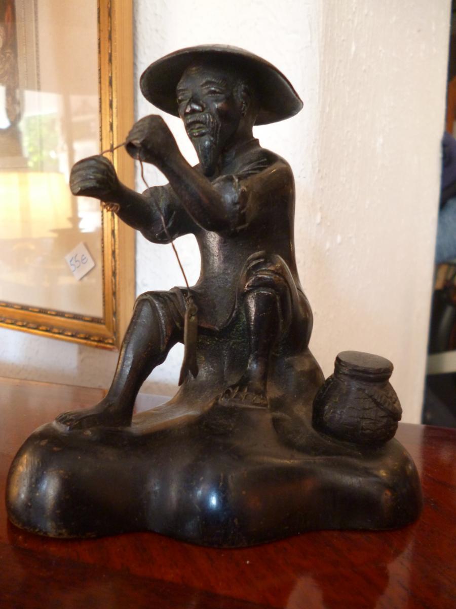 Bronze Asian Fisherman Nineteenth