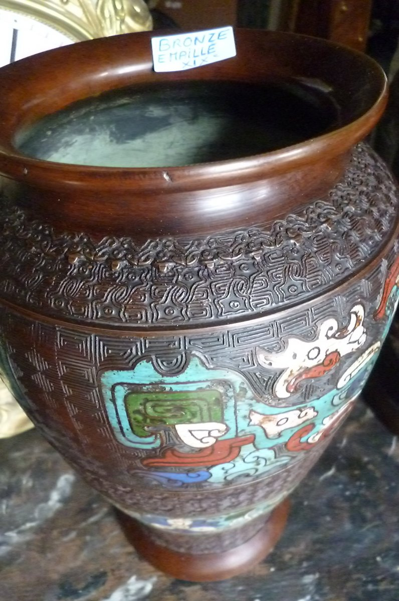 Paires De Vases Cloisonnés En Bronze Chine-photo-2