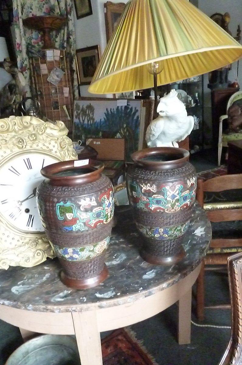 Paires De Vases Cloisonnés En Bronze Chine-photo-1
