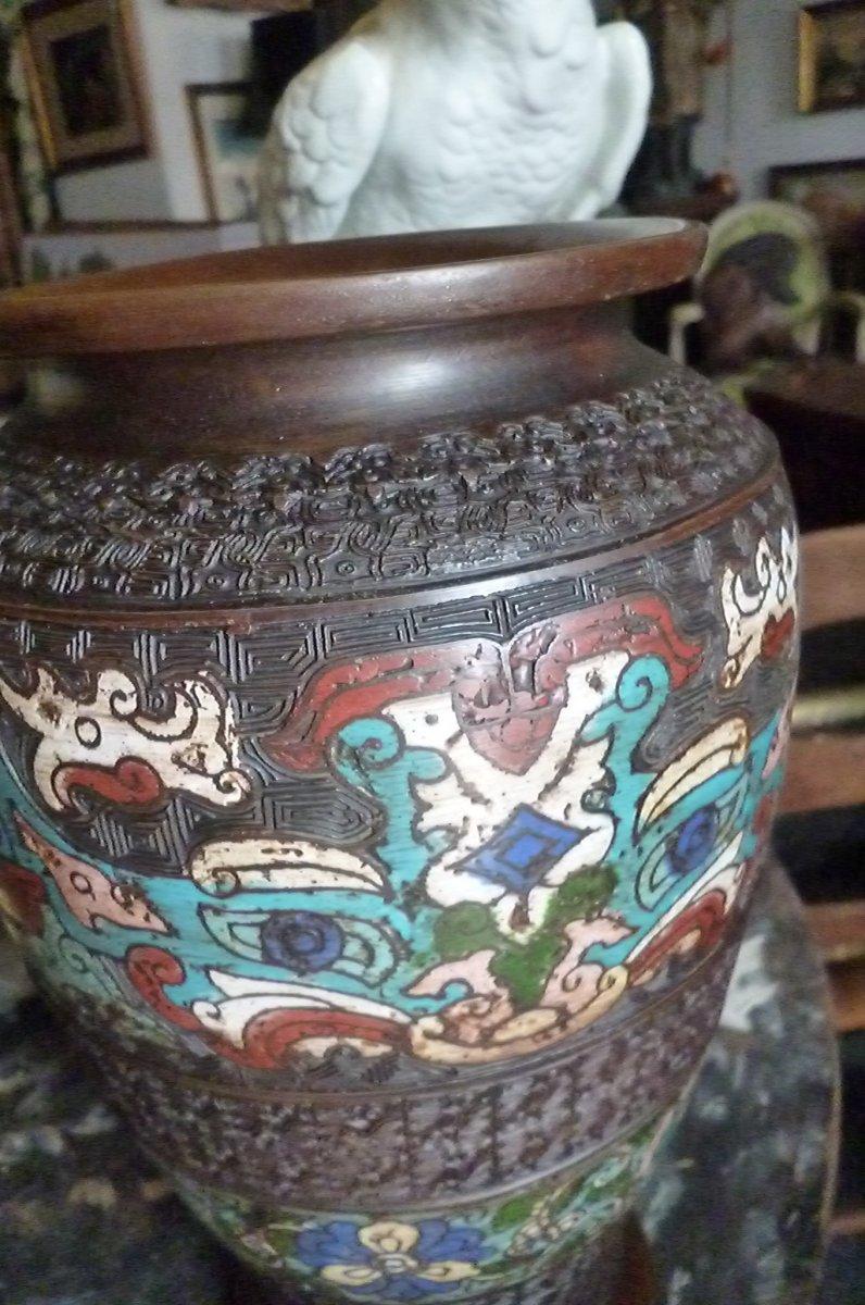 Paires De Vases Cloisonnés En Bronze Chine-photo-3