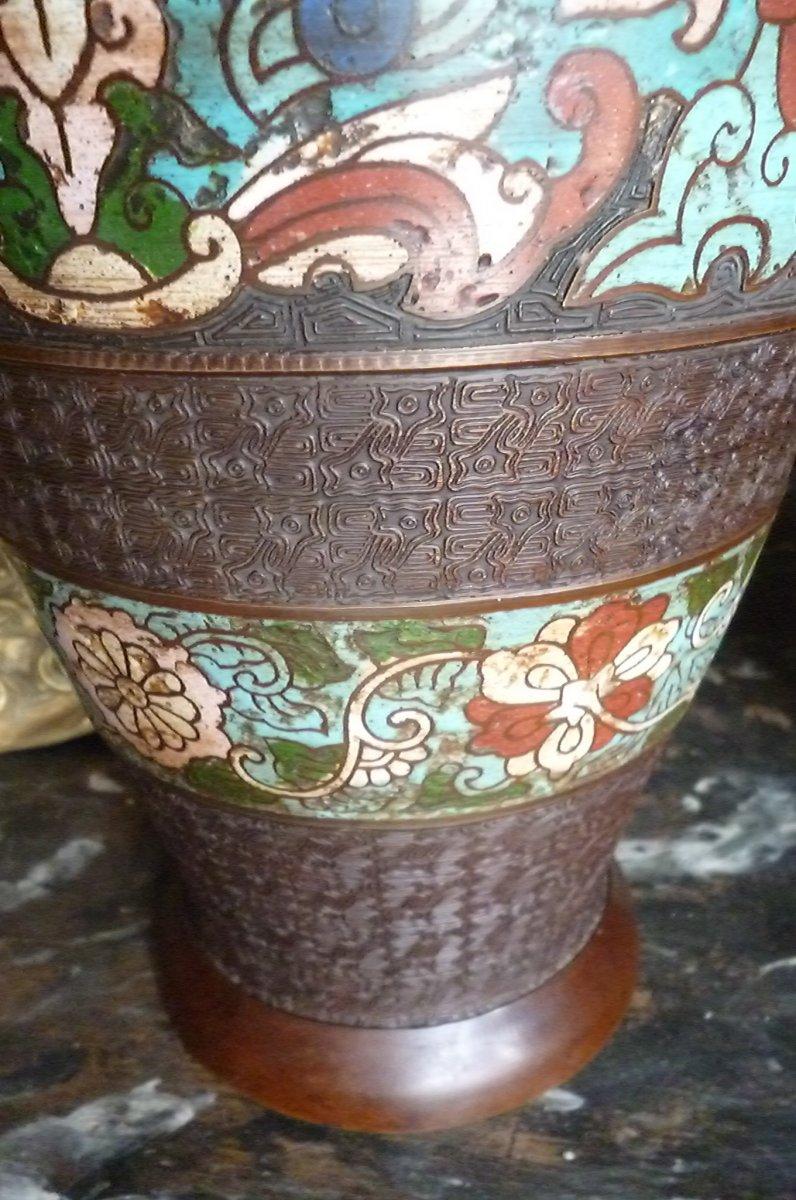 Paires De Vases Cloisonnés En Bronze Chine-photo-4