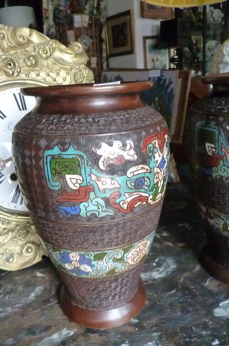 Paires De Vases Cloisonnés En Bronze Chine-photo-5