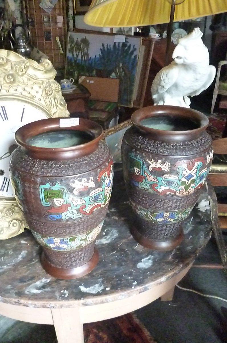 Paires De Vases Cloisonnés En Bronze Chine-photo-6