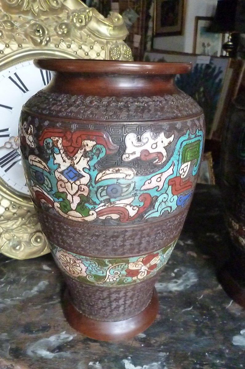 Paires De Vases Cloisonnés En Bronze Chine-photo-7