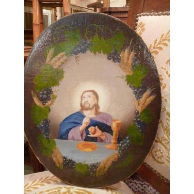 Huile Sur Toile Christ époque XVIII E
