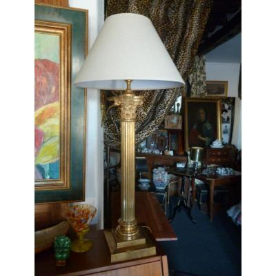 Large Bronze Column Lamp