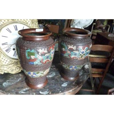 Pairs Of Cloisonne Vases In Chinese Bronze