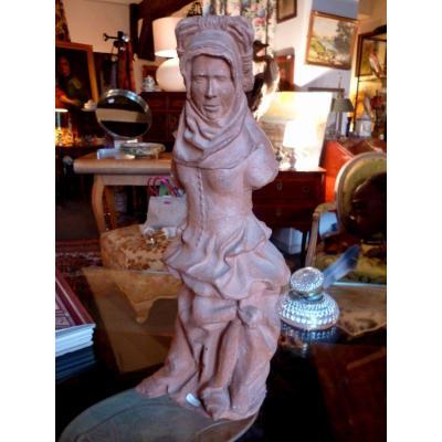 Terre  Cuite statue Originale Milieu XIX E