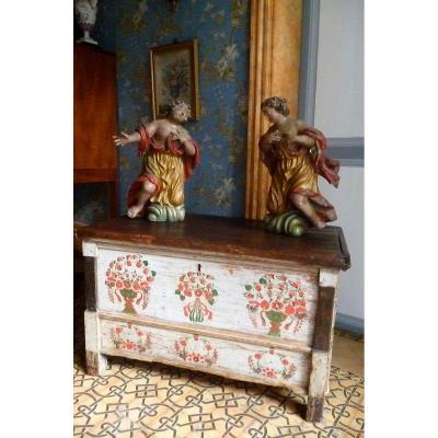 Coffre Peint De Mariage , Normand époque XVIII E