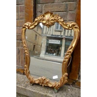 Miroir Rocaille Bois Doré