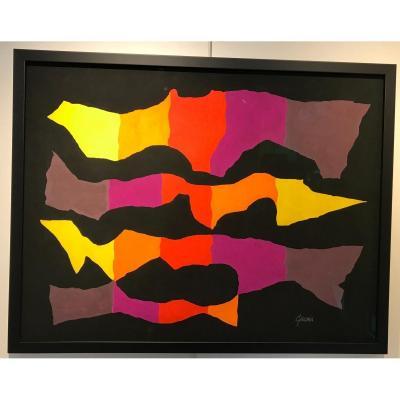 Gouache On Black Paper - Léon Gischia