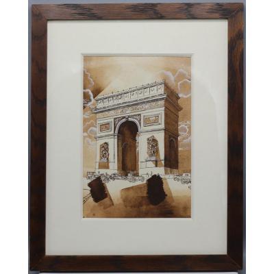 Arc de triomphe  - Ecole Moderne XX ème dans le goût d'Alfred Courmes (1898-1993)