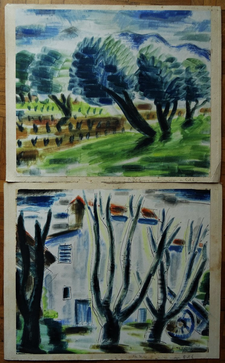 "Gio Colucci (1892-1974) "" Paysages Fauves Expressionnistes"" Grand peintre céramiste Italien, Severini, Galerie De Berri, Italie, Florence..."
