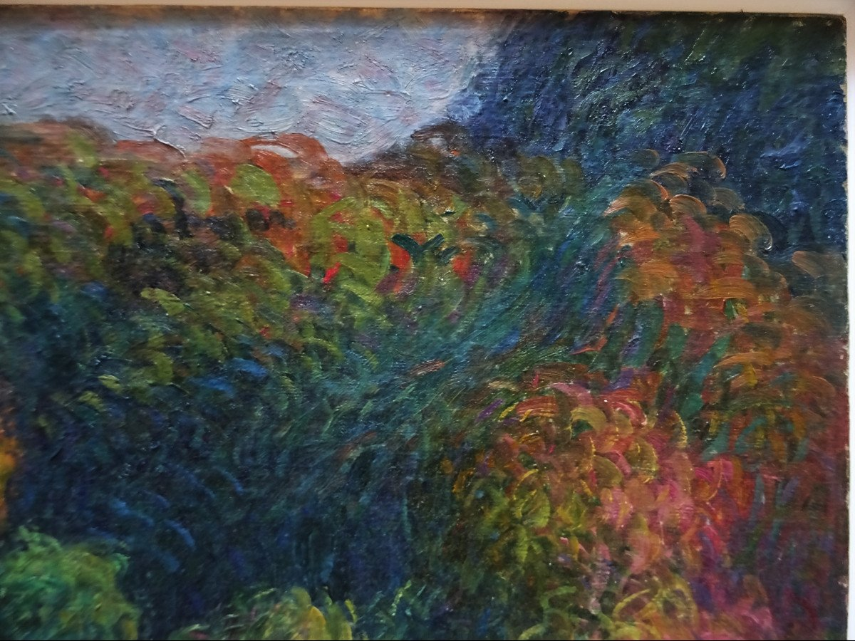 """Michel Fréchon (1892-1974) """" L'automne circa 1913/1916 """" Ecole de Rouen, Pointilliste, Lebourg, Delattre, Pinchon....-photo-2"""