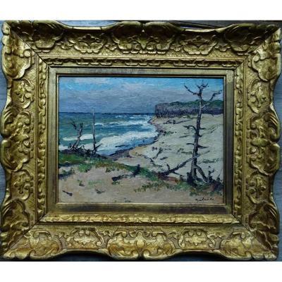 """Gaston Balande (1880-1971) """" Plage de Vert Bois Ile d'Oléron """" La Rochelle, Marquet"""