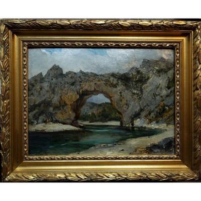 """Luc Raphaël Ponson (1835-1904) """"Vallon Pont d'Arc, Ardèche"""" Grand Provençal 19ème Loubon Olive"""