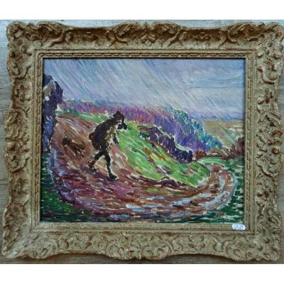 "Léon Detroy (1859-1955) ""hunter In The Rain In Creuse, C.1915"" Crozant School, Guillaumin"