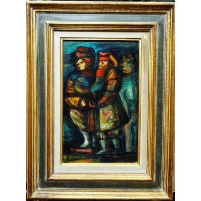 """Eugène Fidler (1910-1990) """"3 Characters"""" Great Ceramist Russian Painter, Vallauris Picasso Raty"""