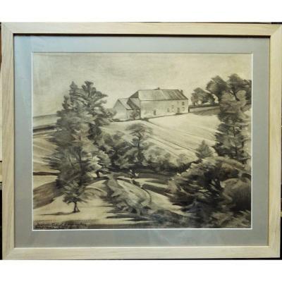 """Alfred Smith (1854-1936) """"fermes à Crozant"""" Ecole de Crozant Impressionniste, Alluaud, bordeaux"""