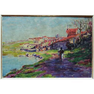"""Paul Thomas (1868-1910)  """" Lavandières en bords de Vienne, rive gauche Limoges c. 1900 """" Crozant, limousin, bichet"""