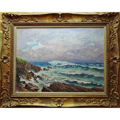 """Adrien Hamon (1875-1963) """"Collioure, gros temps sur la cote Merveille"""" Bégard, Hanicotte, Henri Martin, Detroy, Henri Marre......"""