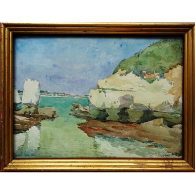 """très rare aquarelle de Pierre Adolphe Valette (1876-1942) """"royan 1922"""" Manchester, England, Angleterre, St-Etienne, blacé, rhone...."""