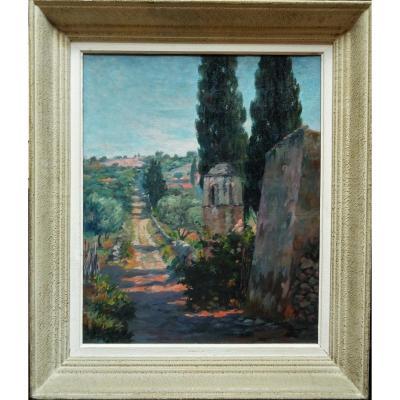 """Henri AURRENS (1873-1934) """"L'oratoire en Provence c.1930"""" Ecole Provençale, Marseille, Pointilliste"""