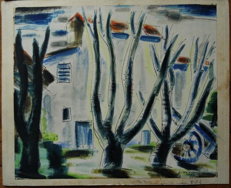 "Gio Colucci (1892-1974) "" Paysages Fauves Expressionnistes"" Grand peintre céramiste Italien, Severini, Galerie De Berri, Italie, Florence...-photo-2"