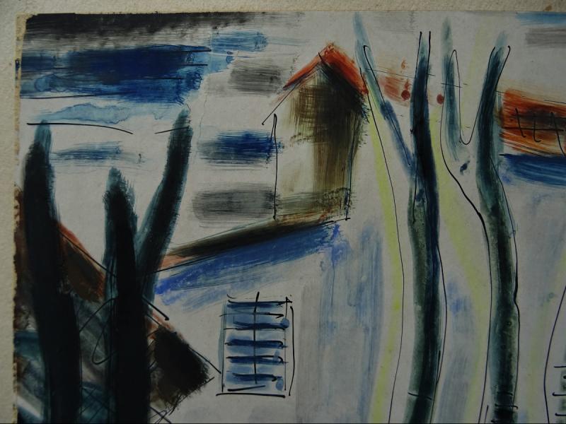 "Gio Colucci (1892-1974) "" Paysages Fauves Expressionnistes"" Grand peintre céramiste Italien, Severini, Galerie De Berri, Italie, Florence...-photo-4"
