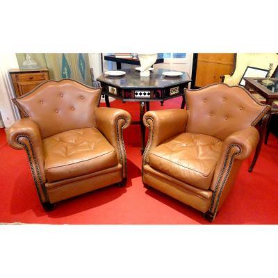 Paire de fauteuils club cuir  Art déco
