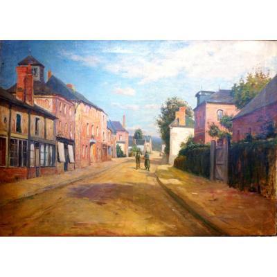 """Huile sur toile XIXème """"Scène de rue animée"""""""