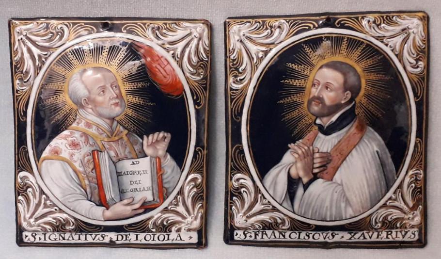 Ignace de Loyola et François-Xavier, émail peint, Limoges
