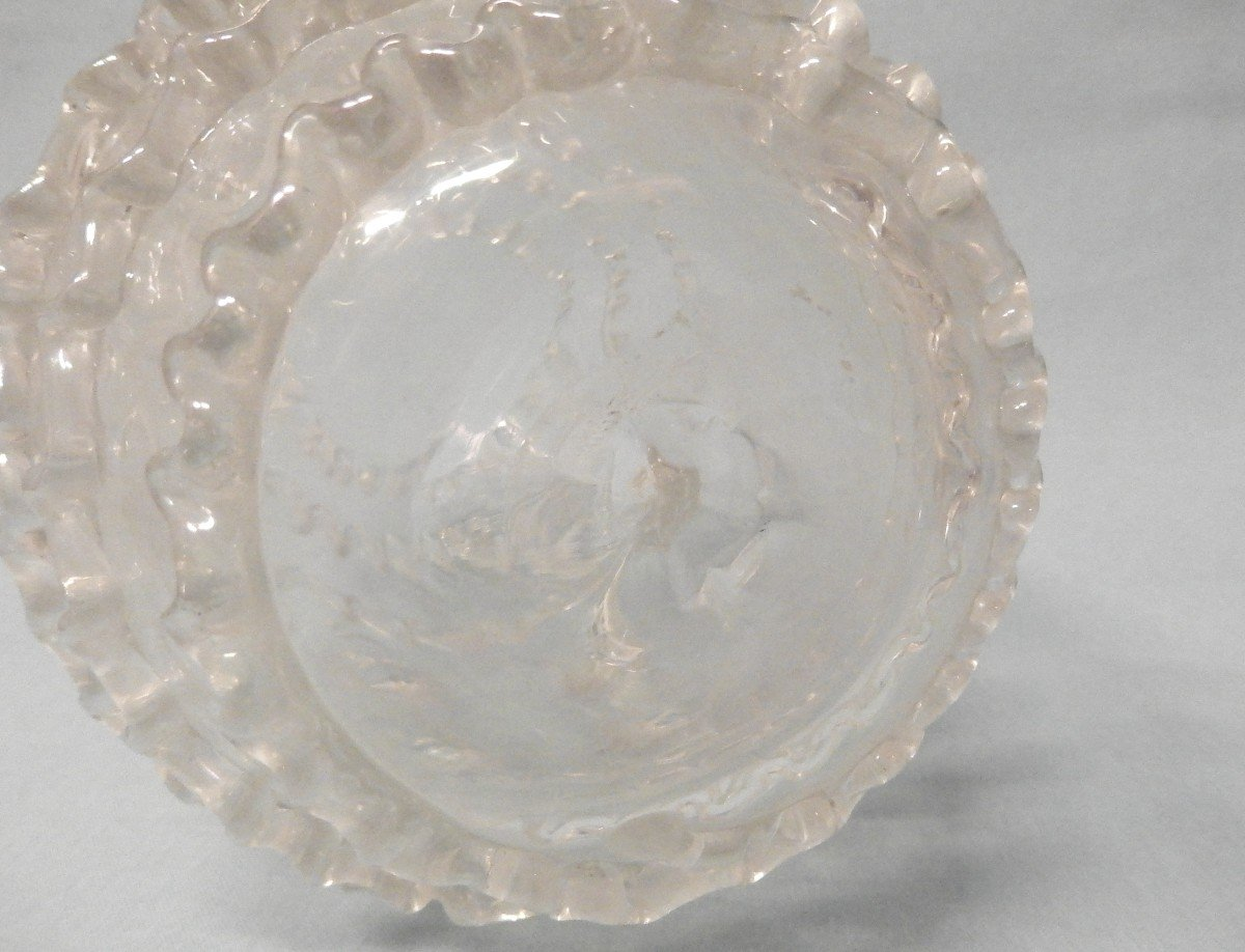 Glass Table Barrel Decorated With Engraved Vines-photo-4