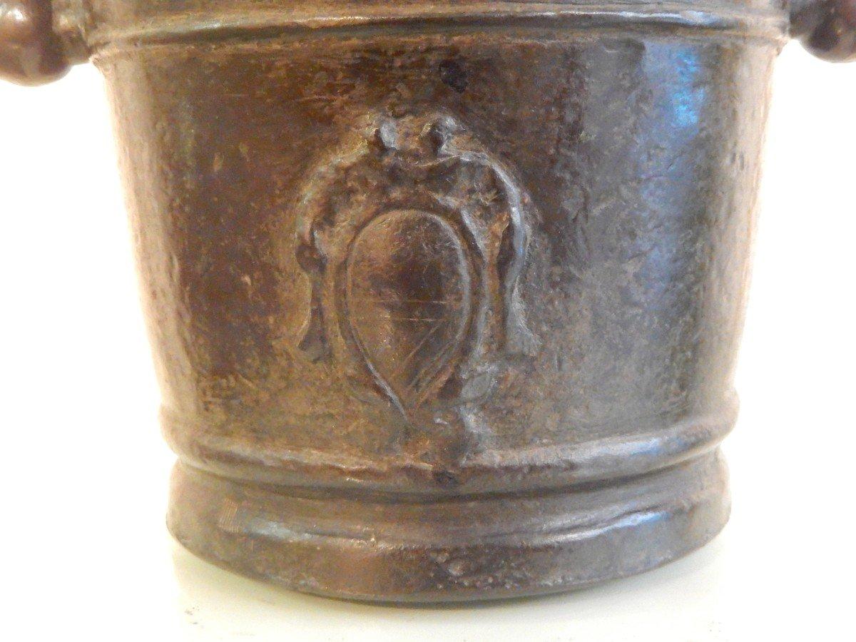 Grand Mortier d'apothicaire En Bronze Avec Armoiries -photo-2