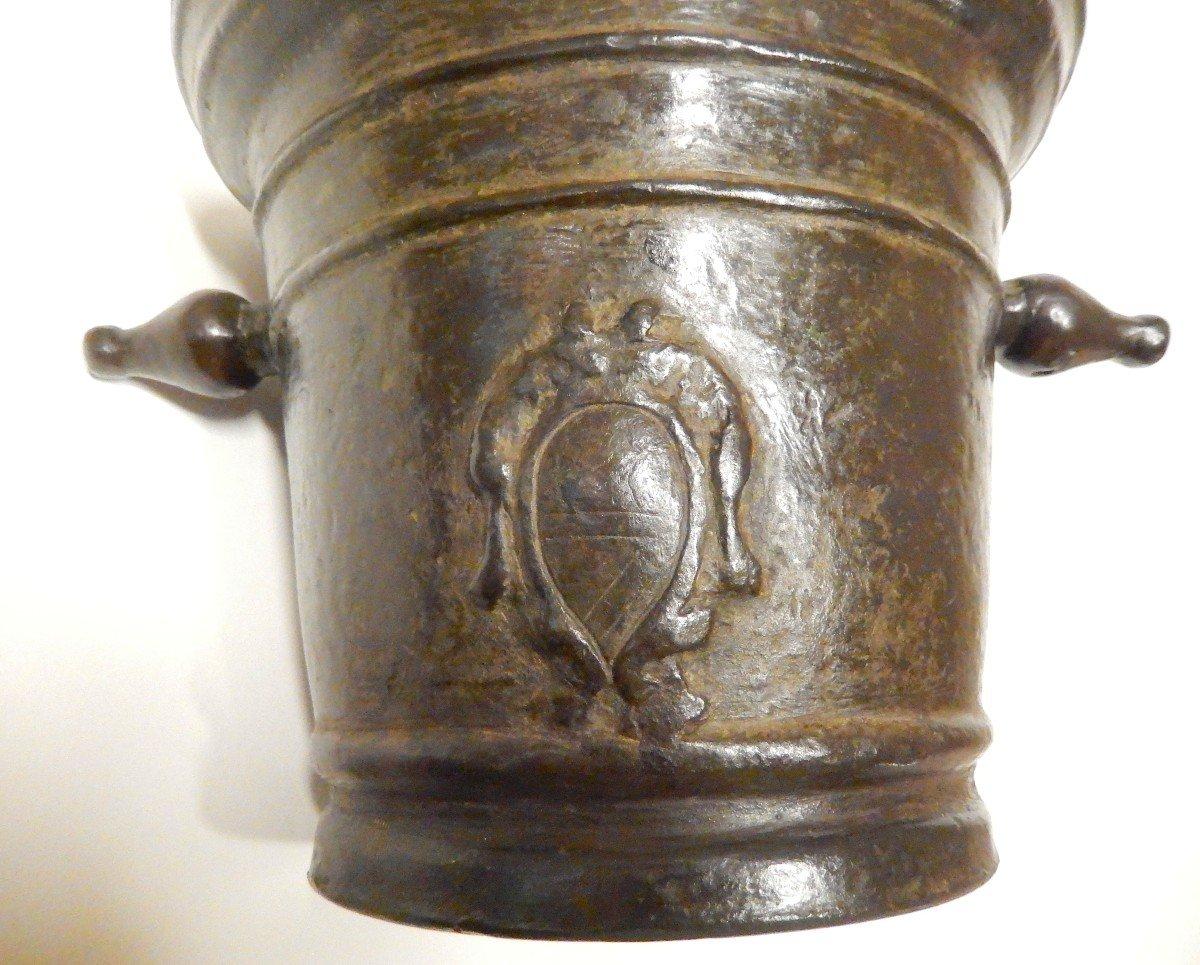 Grand Mortier d'apothicaire En Bronze Avec Armoiries -photo-4