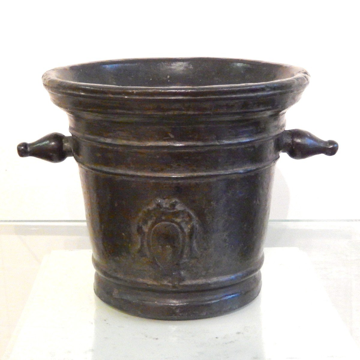 Grand Mortier d'apothicaire En Bronze Avec Armoiries
