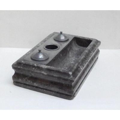 Inkwell In Grey Marble