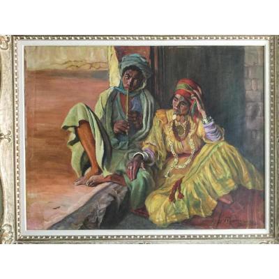 Grande Huile Sur Toile Orientaliste Alger Par Fritz Muller