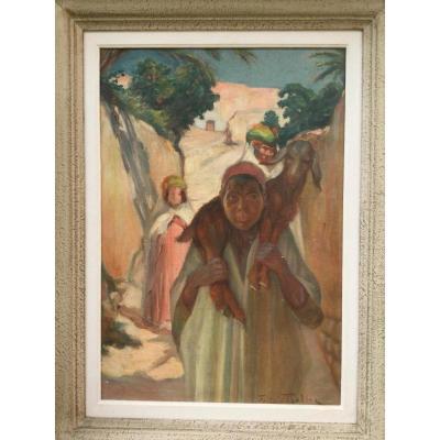 """Tableau Orientaliste Fritz Muller """"jeune Berger"""" Alger 1920"""