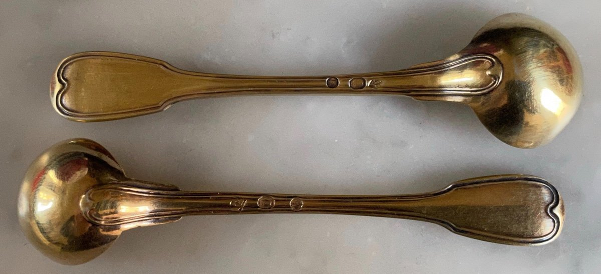 Cuillère, Louche, à Moutarde, Argent ,doré, Vermeil, Empire, XIXè-photo-1