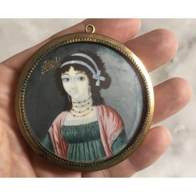 Miniature, Small Portrait, Young Woman, Early 19th Century