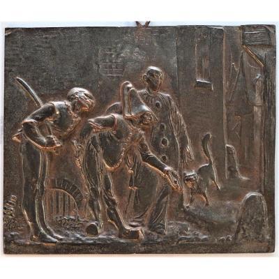Commedia Dell Arte Bronze Bas Relief