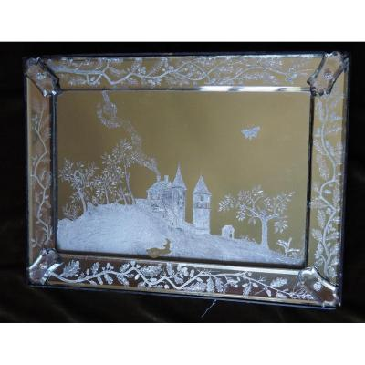 Mirror Engraved With A Landscape