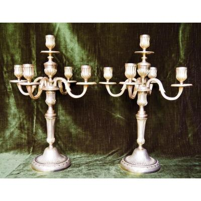 """Pair Of Candlesticks """"end Of Table"""" Louis XVI Period"""