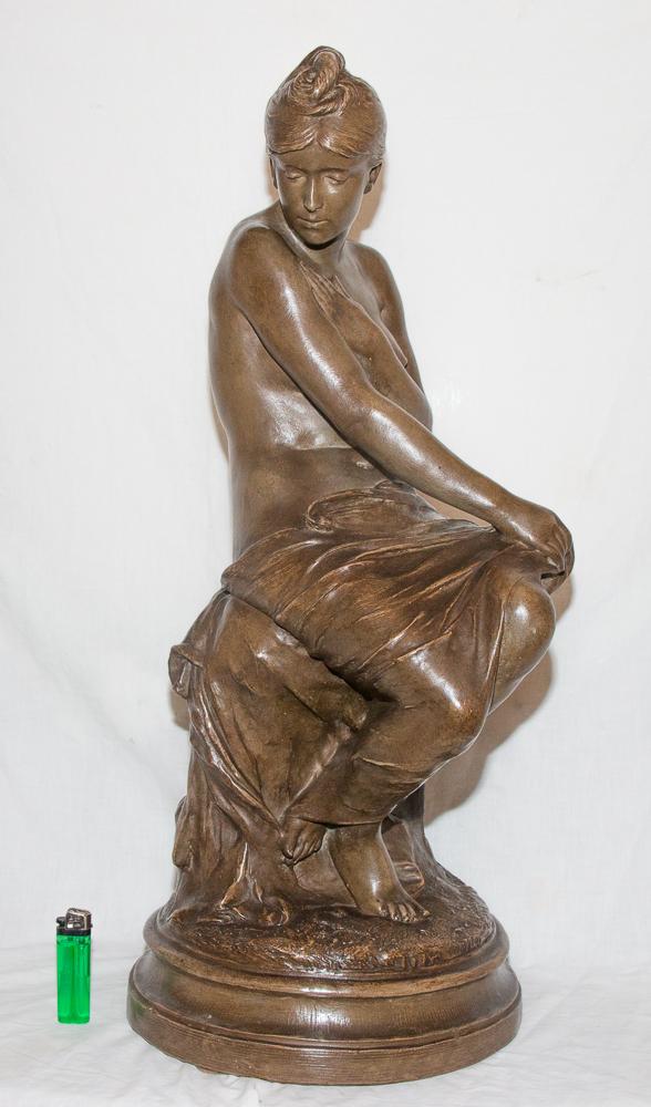 "Sculpture En Terre Cuite ""la Baigneuse"" Signée Delaroche 1797-1856"