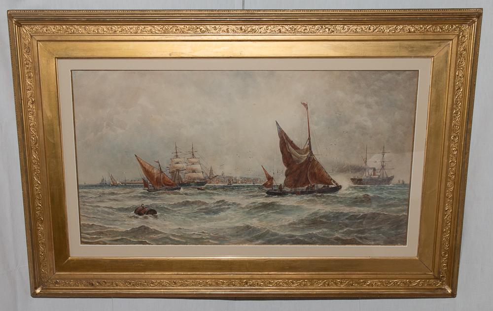 Aquarelle Marine Anglaise Signée TB Hardy 1889
