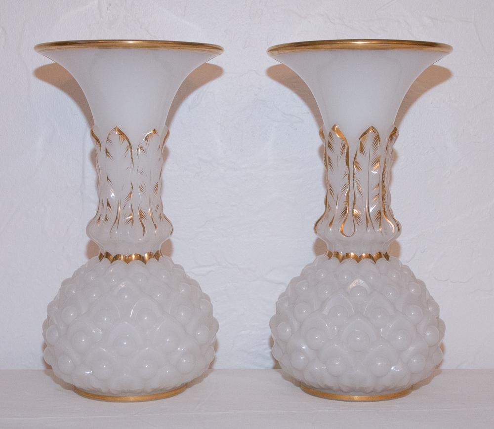 Paire Vases En Opaline Baccarat Circa 1850