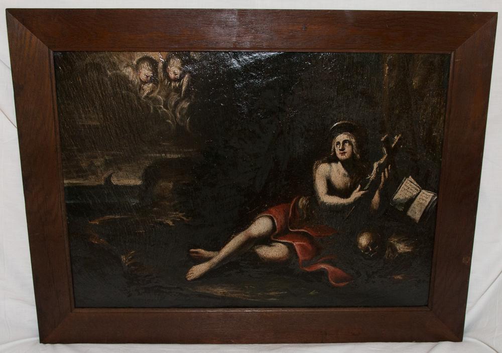 Huile sur ardoise Marie Madeleine époque XVIIIe Siècle