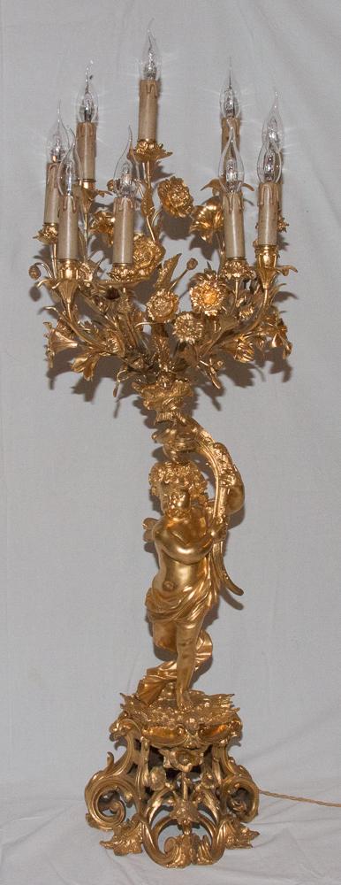 Torchère Au Chérubin  En Bronze Doré  époque Napoléon III